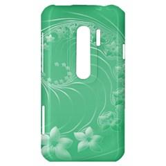 Light Green Abstract Flowers HTC Evo 3D Hardshell Case