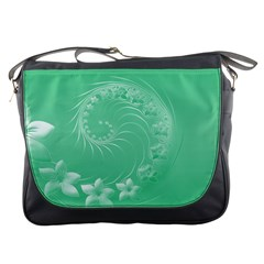 Light Green Abstract Flowers Messenger Bag