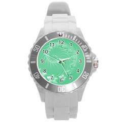 Light Green Abstract Flowers Plastic Sport Watch (Large)