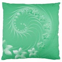 Light Green Abstract Flowers Large Cushion Case (one Side)