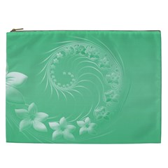 Light Green Abstract Flowers Cosmetic Bag (xxl)