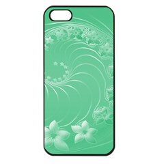 Light Green Abstract Flowers Apple Iphone 5 Seamless Case (black)