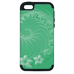 Light Green Abstract Flowers Apple Iphone 5 Hardshell Case (pc+silicone)