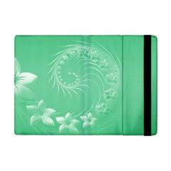 Light Green Abstract Flowers Apple iPad Mini Flip Case