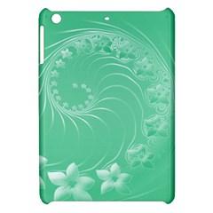 Light Green Abstract Flowers Apple iPad Mini Hardshell Case