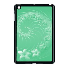 Light Green Abstract Flowers Apple Ipad Mini Case (black)