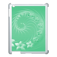 Light Green Abstract Flowers Apple iPad 3/4 Case (White)