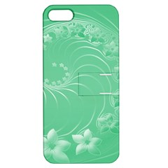 Light Green Abstract Flowers Apple Iphone 5 Hardshell Case With Stand