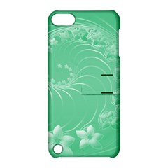 Light Green Abstract Flowers Apple iPod Touch 5 Hardshell Case with Stand