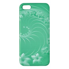 Light Green Abstract Flowers iPhone 5 Premium Hardshell Case