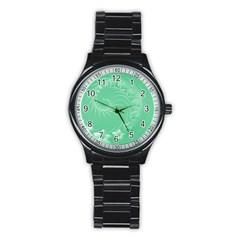 Light Green Abstract Flowers Sport Metal Watch (Black)