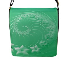 Light Green Abstract Flowers Flap Closure Messenger Bag (Large)