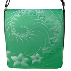 Light Green Abstract Flowers Flap closure messenger bag (Small)
