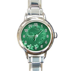 Green Abstract Flowers Round Italian Charm Watch