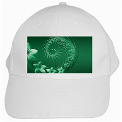 Green Abstract Flowers White Baseball Cap