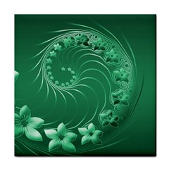 Green Abstract Flowers Ceramic Tile