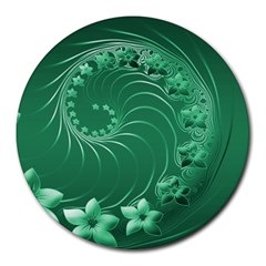 Green Abstract Flowers 8  Mouse Pad (Round)