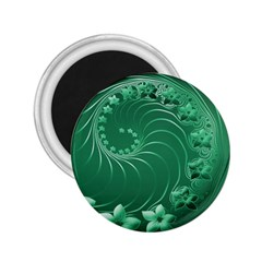 Green Abstract Flowers 2.25  Button Magnet