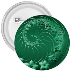 Green Abstract Flowers 3  Button