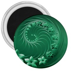 Green Abstract Flowers 3  Button Magnet