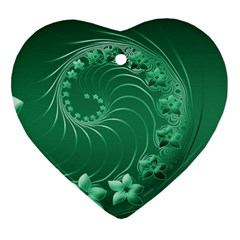 Green Abstract Flowers Heart Ornament