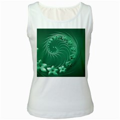 Green Abstract Flowers Womens  Tank Top (White)