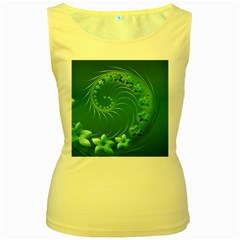 Green Abstract Flowers Womens  Tank Top (Yellow)