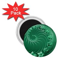 Green Abstract Flowers 1 75  Button Magnet (10 Pack)