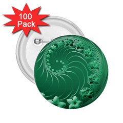 Green Abstract Flowers 2.25  Button (100 pack)