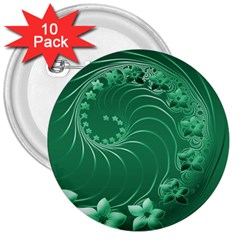 Green Abstract Flowers 3  Button (10 pack)