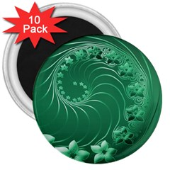 Green Abstract Flowers 3  Button Magnet (10 Pack)