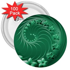 Green Abstract Flowers 3  Button (100 pack)