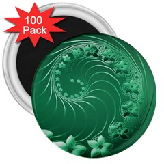 Green Abstract Flowers 3  Button Magnet (100 pack)