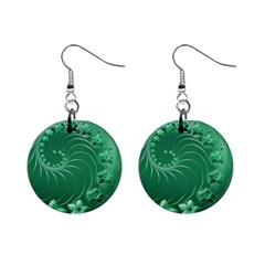 Green Abstract Flowers Mini Button Earrings