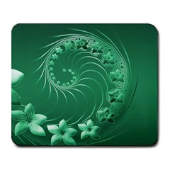 Green Abstract Flowers Large Mouse Pad (Rectangle)
