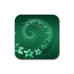 Green Abstract Flowers Drink Coasters 4 Pack (Square)