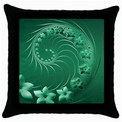 Green Abstract Flowers Black Throw Pillow Case