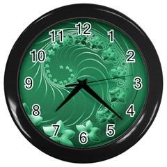 Green Abstract Flowers Wall Clock (Black)