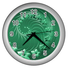 Green Abstract Flowers Wall Clock (Silver)