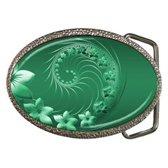 Green Abstract Flowers Belt Buckle (oval)