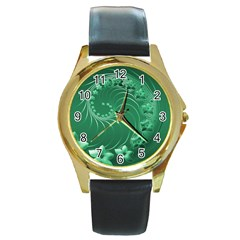 Green Abstract Flowers Round Metal Watch (Gold Rim)