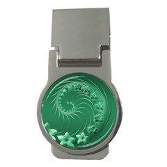 Green Abstract Flowers Money Clip (Round)