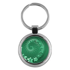 Green Abstract Flowers Key Chain (Round)
