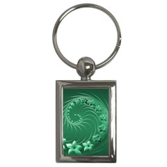 Green Abstract Flowers Key Chain (Rectangle)