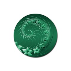 Green Abstract Flowers Drink Coasters 4 Pack (Round)