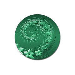 Green Abstract Flowers Magnet 3  (Round)