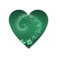 Green Abstract Flowers Magnet (Heart)