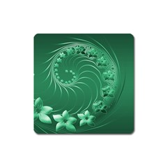 Green Abstract Flowers Magnet (Square)