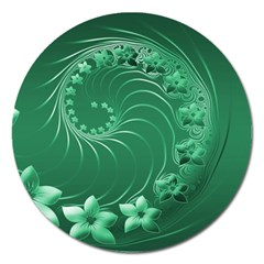 Green Abstract Flowers Magnet 5  (Round)