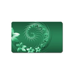 Green Abstract Flowers Magnet (name Card)